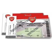 "5 Arsenal Football Birthday Party Invitations (Size 4x6"")"