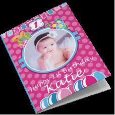 Baby Girl Personalised Photo Birthday Card