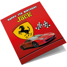 Ferrari Sports Car Personalised Birthday Card