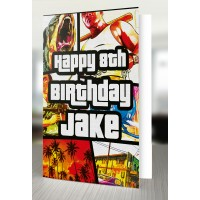 Grand Theft Auto 5 Personalised Gaming Birthday Card