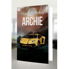 Lamborghini Sports Car Personalised Birthday Card