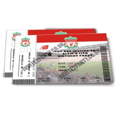 "5 Liverpool Football Birthday Party Invitations (Size 4x6"")"