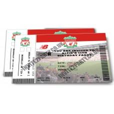 "5 Liverpool Football Birthday Party Invitations (Size 4x6"")"