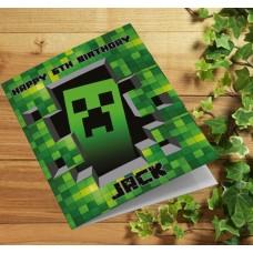 Minecraft Personalised Gaming Birthday Card